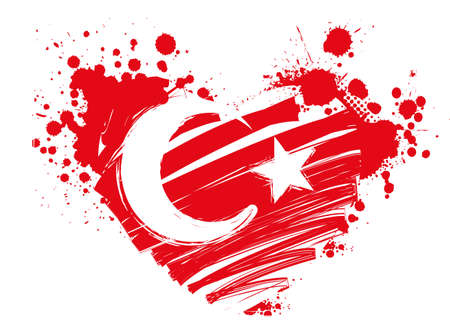 turkish: Grunge flag of Turkey in heart shape for your designs