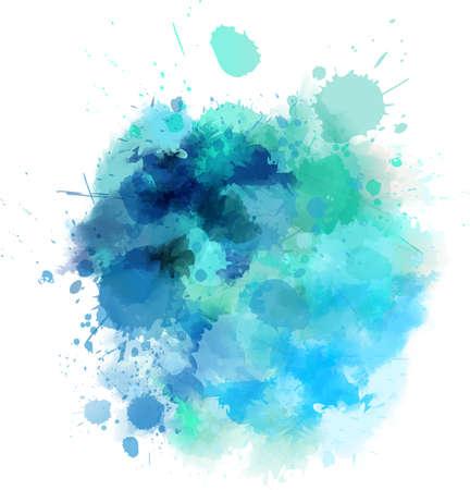 Watercolored splash blot in blue color