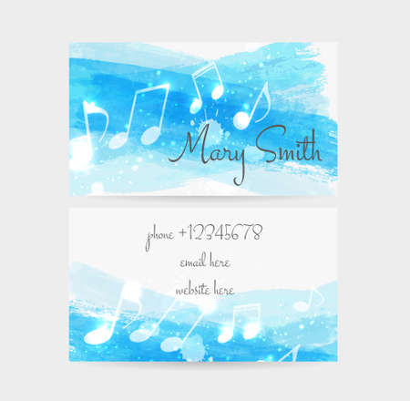 splash page: Business card template - front and back side. Watercolored brushed with music notes design.