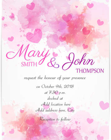 Wedding invitation template with pink hearts on watercolor background Vectores