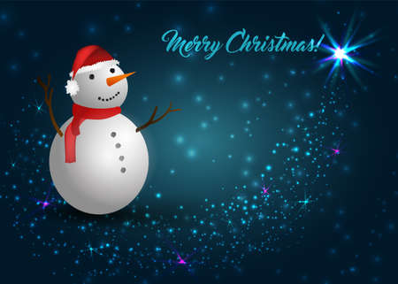 Sparkly blue Christmas background with snowman in red hat and scarf Illustration