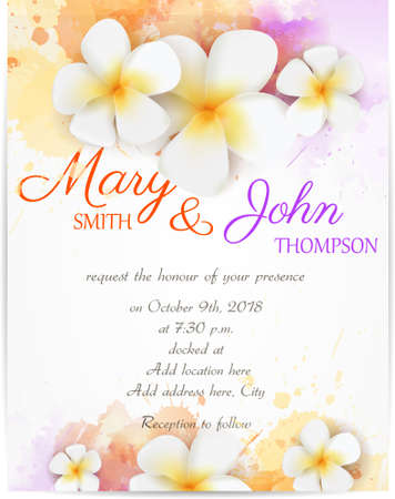 Wedding invitation template with plumeria flowers on watercolor background