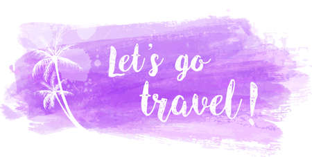 grunge banner: Travel grunge banner with palm trees in light purple color