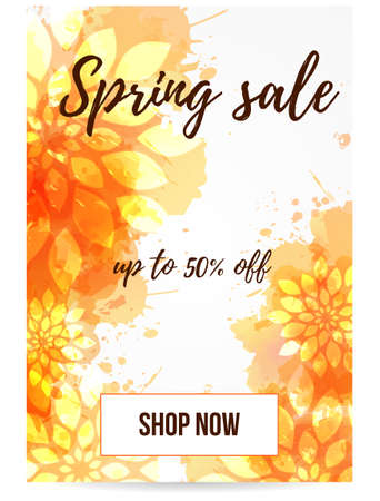 mobile website: Spring sale banner in orange color with abstract flowers. For mobile, website promotion, ads and newsletter. Illustration