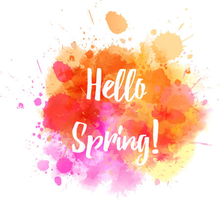 Watercolor imitation splash background with Hello spring message.