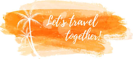 orange trees: Travel grunge banner with palm trees in orange color