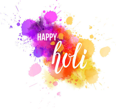 Watercolor imitation multicolored background with Happy Holi handwritten message. Indian spring festival. Vector illustration.