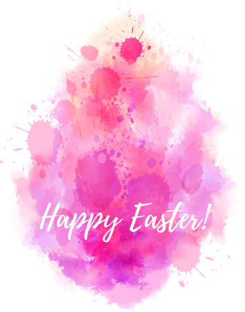 Watercolor imitation Happy Easter background. Shaped in egg form. Pink colored. Vector illustration.