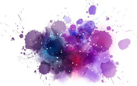 entertainment: Multicolored watercolor imitation cosmos background with stars Illustration