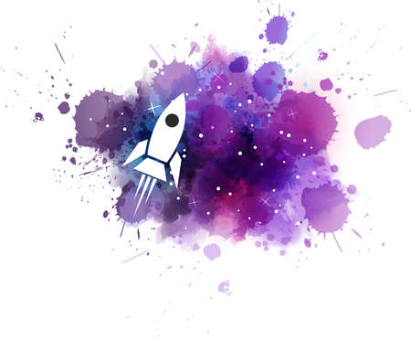 Multicolored watercolor imitation cosmos background with stars and flying rocket. Vector illustration Illustration
