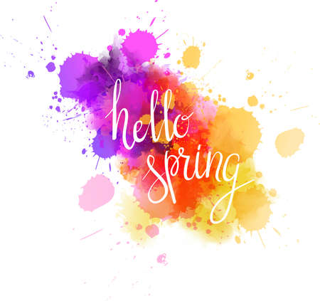 Watercolor imitation multicolored splash with inspirational handwritten typography message Hello spring.