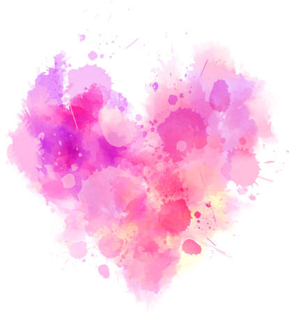 Watercolor imitation pink heart. Vector illustration. Template for your designs.