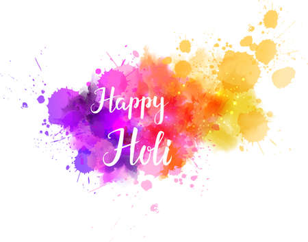 pichkari: Watercolor imitation multicolored background with Happy Holi handwritten message. Indian spring festival. Vector illustration.