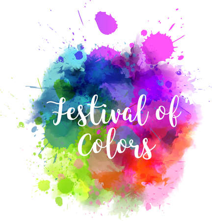 Watercolor imitation multicolored background with Festival of colors message. Indian spring Holi festival.