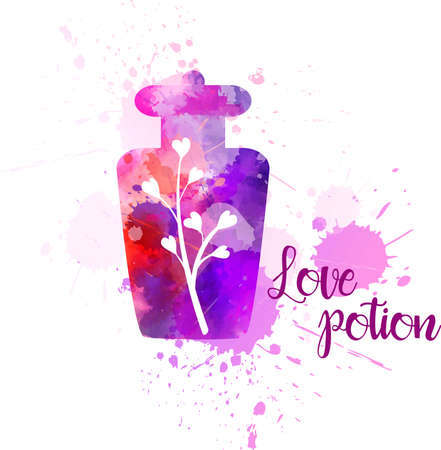 Watercolor imitation bottle with love potion. Concept for Valentines day, greeting card, etc. Vector illustration.