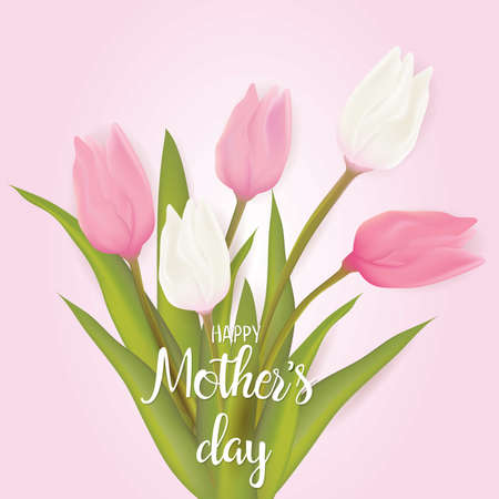 Mothers day greeting card with tulip flowers with typography mothers day greeting card with tulip flowers with typography greeting message vector illustration m4hsunfo