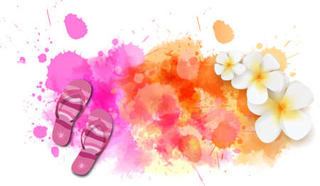 tropical flowers: Watercolor imitation background with flip-flops and tropical flowers. Orange and pink colored. Vector illustration.