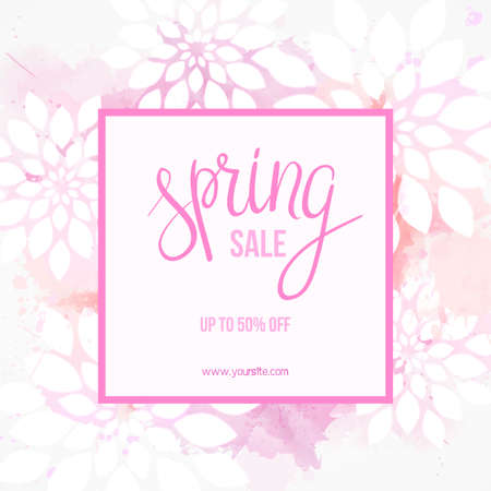 Spring sale background in pink color with abstract flowers. Handwritten modern calligraphy message. For website promotion, ads, print and newsletter. Illustration