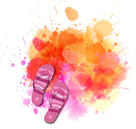 Watercolor imitation splash with flip-flops and copyspace. Orange and pink colored. Vector illustration.
