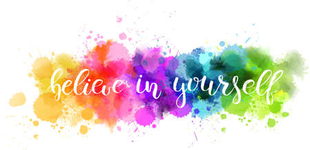 Watercolor imitation background with handwritten modern calligraphy message. Vector Illustration