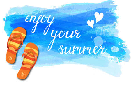 Watercolor imitation background with flip-flops, tropical flowers and Enjoy your summer Illustration