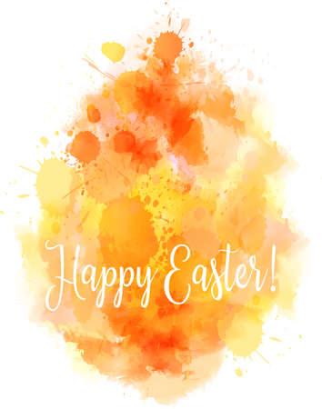 Watercolor imitation Happy Easter background. Shaped in egg form. Orange colored. Vector illustration. Illustration