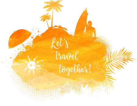 orange trees: Abstract painted splash shape with silhouettes. Travel concept - surfing, palm trees, sun umbrella. Orange colored. Vector illustration.