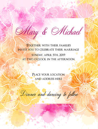 Wedding invitation template with abstract florals on watercolor pattern Vectores