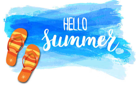 Watercolor imitation background with flip-flops, tropical flowers and Hello summer handwritten message. Blue colored. Vector illustration.