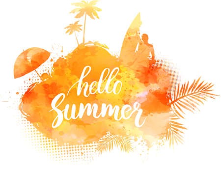 orange trees: Abstract painted splash shape with silhouettes. Travel concept - surfing, palm trees, sun umbrella. Orange colored. Hello summer calligraphic message. Vector illustration.