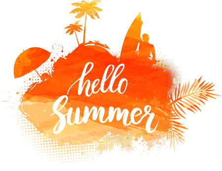 Abstract painted splash shape with silhouettes. Travel concept - surfing, palm trees, sun umbrella. Orange colored. Hello summer calligraphic message. Vector illustration.