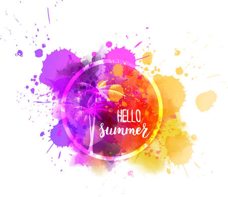 orange trees: Watercolor imitation splash background with Hello summer calligraphic message and palm trees. Purple and orange colored. Vector illustration.