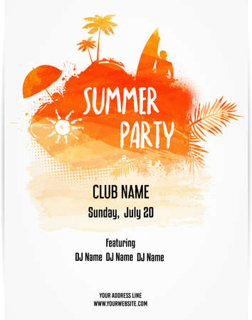 Party poster template for summer party. Hello Summer calligraphic message. Orange colored with watercolor imitation design. Vector illustration.