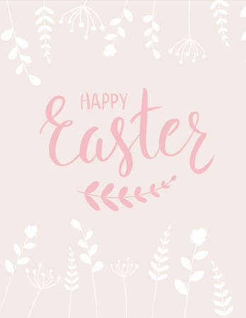 easter background: Happy Easter holiday background with abstract flowers. Illustration