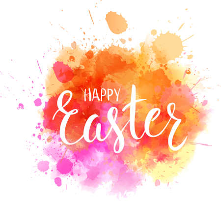 Watercolor imitation background with handwritten modern calligraphy message Happy Easter. Vector illustration.