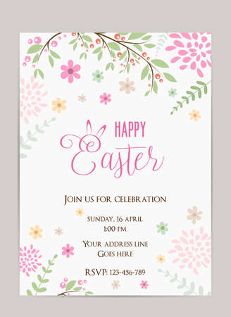 holiday invitation: Happy Easter holiday background. Party invitation template. Illustration
