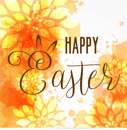 Background with watercolor imitation and abstract florals. Happy Easter. Orange colored.
