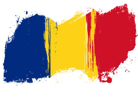 Grunge Romania national flag for your designs. Illustration