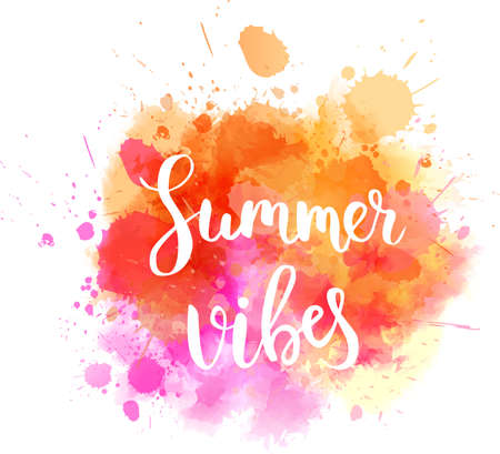 Watercolor imitation background with handwritten modern calligraphy message Summer vibes.  Orange colored. Vector illustration.