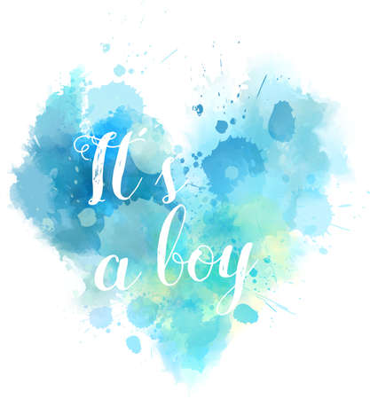 reveal: Baby gender reveal concept illustration. Watercolor imitation heart.  Ita a boy. Blue colored.