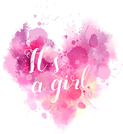 reveal: Baby gender reveal concept illustration. Watercolor imitation heart. Ita a girl. Pink colored.
