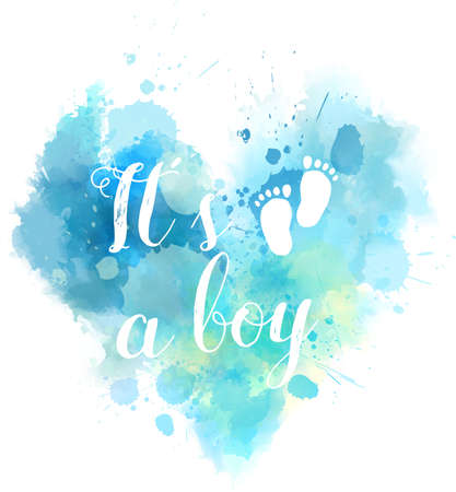 Baby gender reveal concept illustration. Watercolor imitation heart.  It's a boy. Blue colored.
