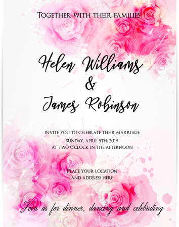 Wedding invitation template with abstract florals on watercolor background. Vector illustration.