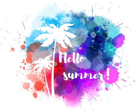 wet leaf: Purple and blue colored watercolor splash with palm trees and calligraphy message Hello summer