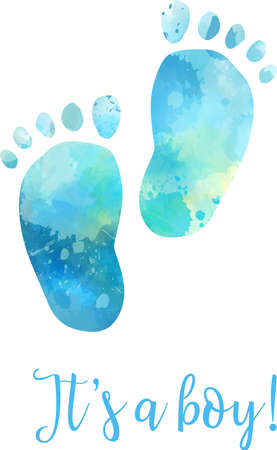 Baby gender reveal concept illustration. Watercolor footprints. Its a boy. Blue colored. Illustration