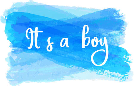 reveal: Baby gender reveal concept illustration. Its a boy. Blue colored.