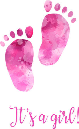 reveal: Baby gender reveal concept illustration. Watercolor footprints. Its a girl. Pink colored.