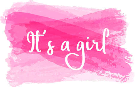 Baby gender reveal concept illustration. It's a girl. Pink colored.