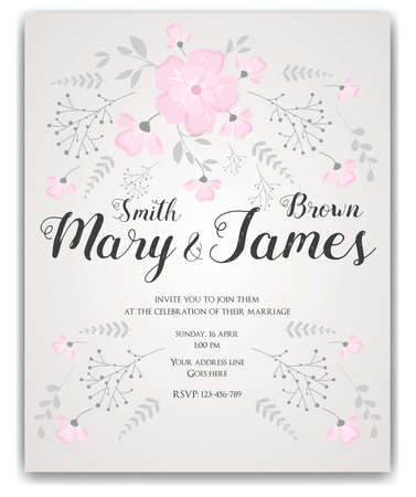 styled: Wedding invitation card template with abstract bouquet flowers, brunches and leaves. Vintage styled. Pink and grey colored. Illustration