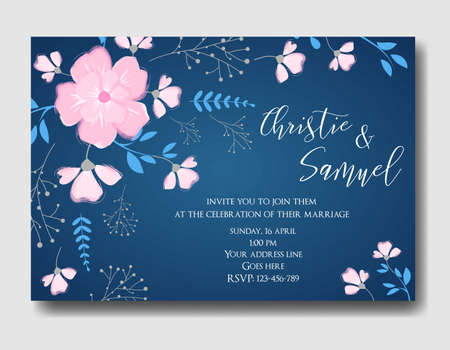 styled: Wedding invitation card template with abstract bouquet flowers, brunches and leaves. Vintage styled. Horizontal oriented. Dark blue colored with pink flowers.